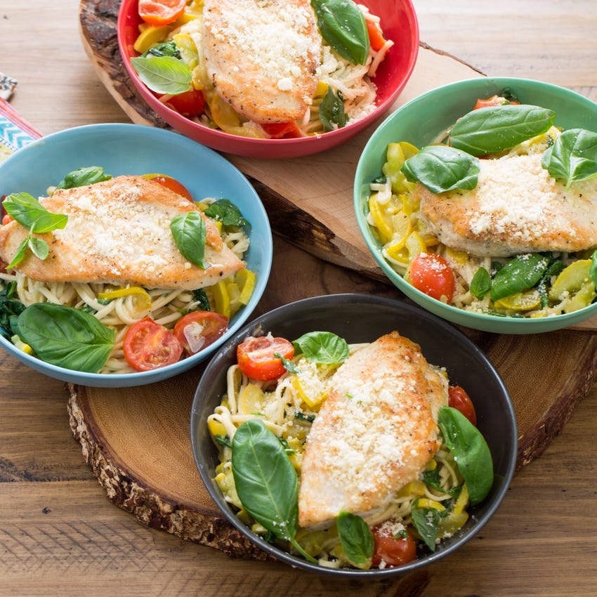 Chicken Paillards & Fresh Linguine with Summer Squash & Cherry Tomatoes