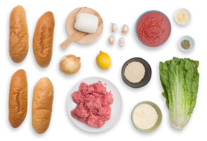 Italian Meatball Sandwiches with Caesar-Style Romaine Salad ingredients