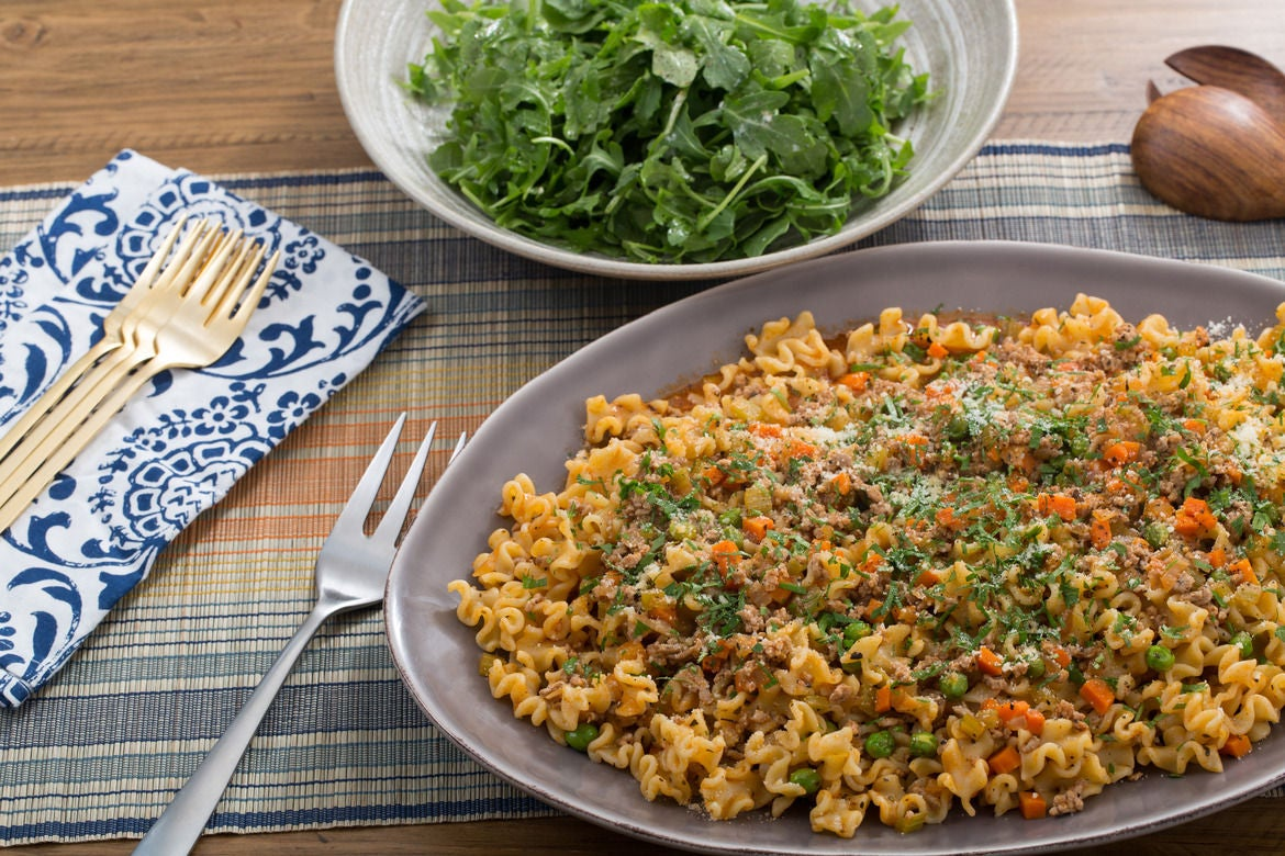 Pork Bolognese & Mafalda Pasta with English Peas & Arugula Salad