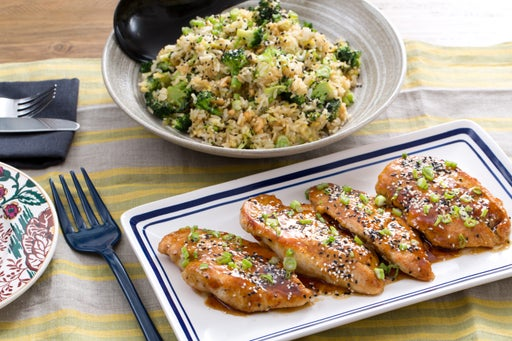 Sweet Soy Chicken with Broccoli & Cashew Fried Rice