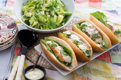 Salmon Po' Boy Sandwiches with Remoulade Sauce & Chopped Salad