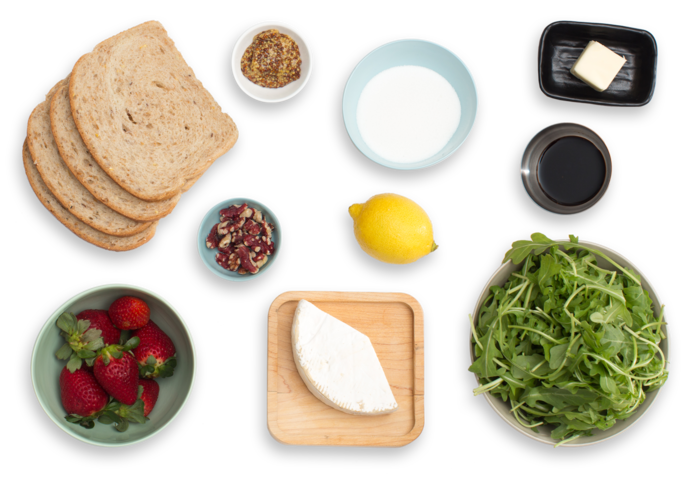 Grilled Brie Sandwiches with Quick Strawberry Jam & Red Walnut-Arugula Salad ingredients