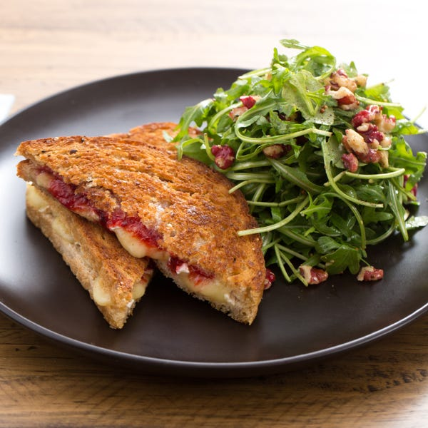 Grilled Brie Sandwiches with Quick Strawberry Jam & Red Walnut-Arugula Salad