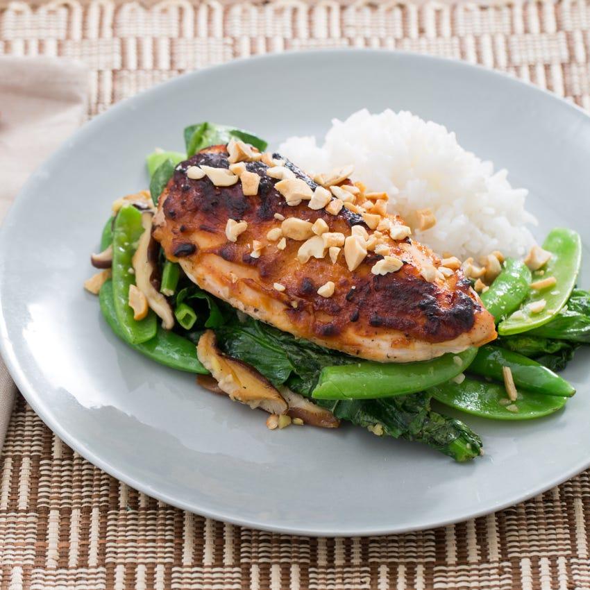 Miso Roasted Chicken with Spring Peas & Jasmine Rice