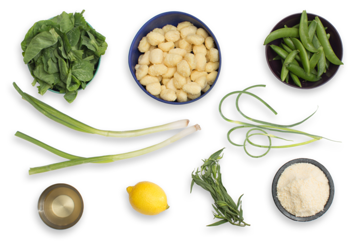 Spring Pea Gnocchi with Parmesan & Garlic Scape Sauce ingredients