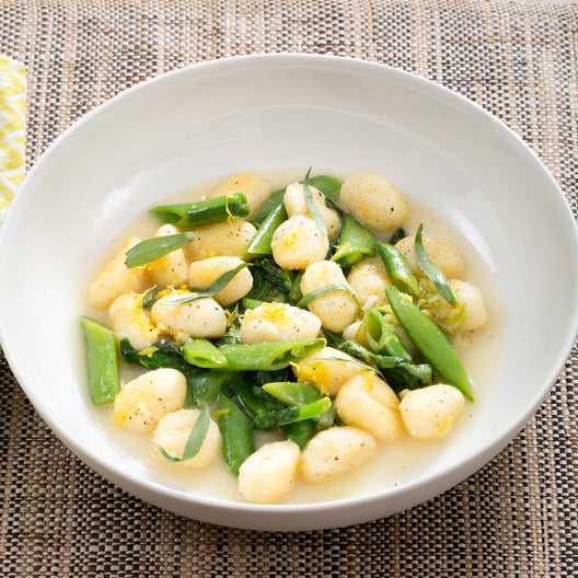Spring Pea Gnocchi with Parmesan & Garlic Scape Sauce