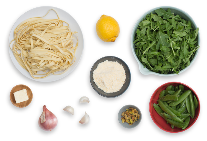 Fresh Fettuccine Pasta with Sugar Snap Peas & Arugula Pesto