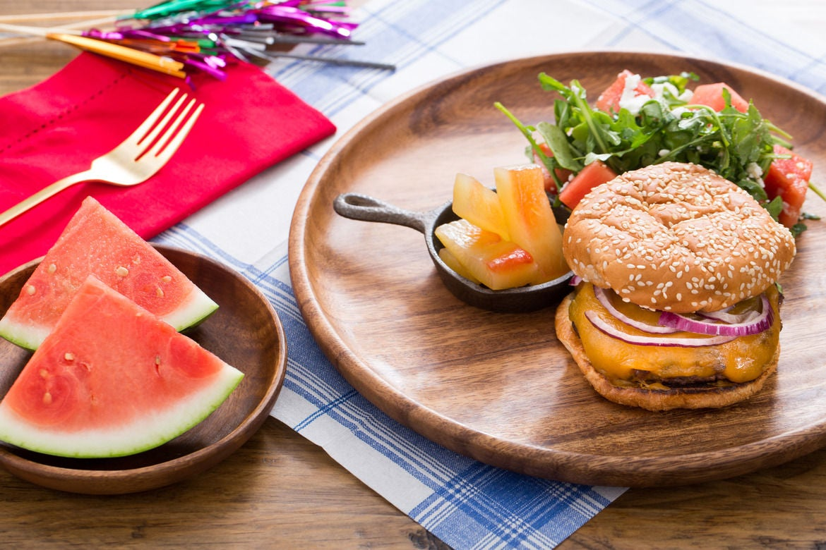 Grilled Cheeseburgers with Feta-Watermelon Salad & Pickled Watermelon Rind