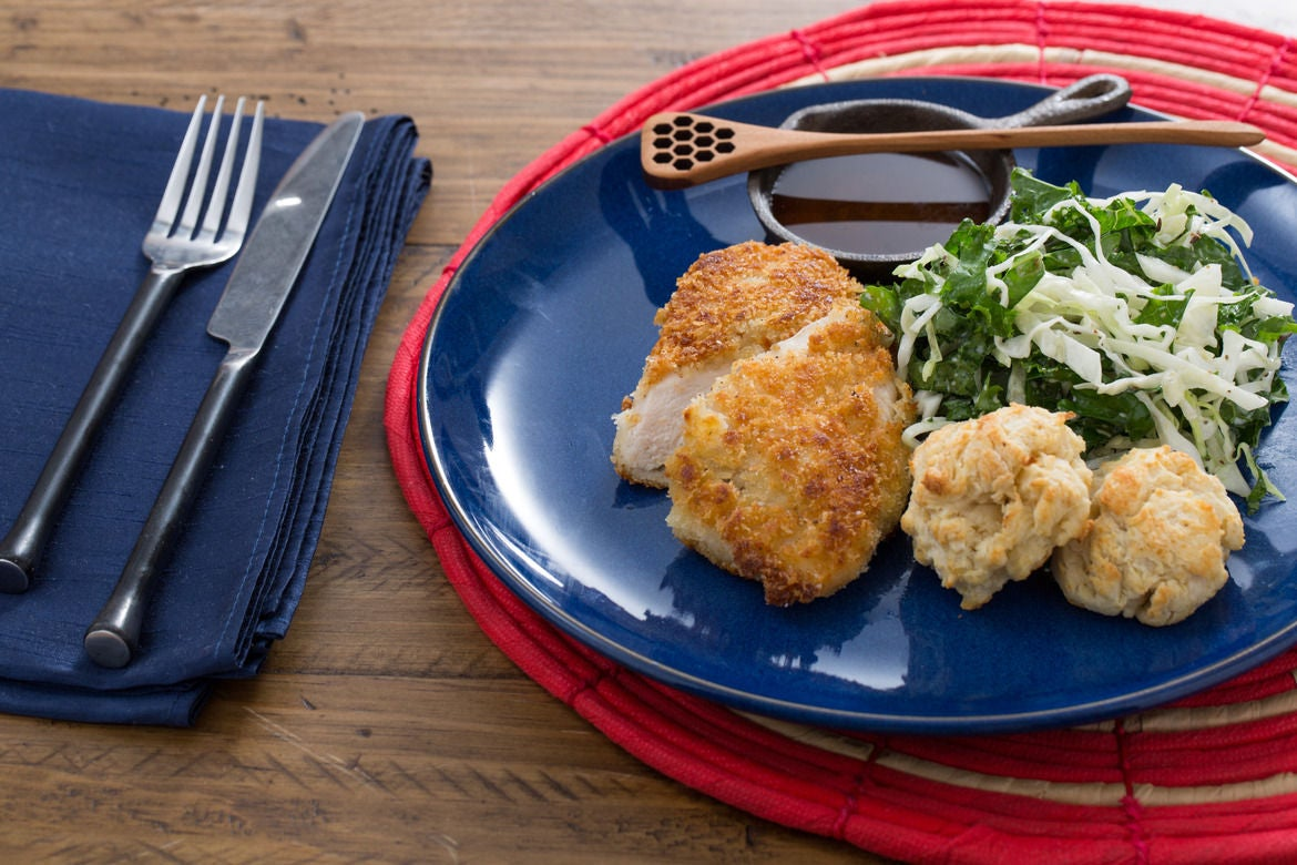 : Crispy Fried Chicken with Kale-Cabbage Slaw & Buttermilk Biscuits ...