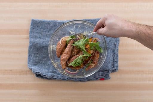 Roast & dress the sweet potatoes: