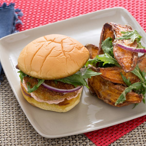 Fried Green Tomato Burgers with Miso-Dressed Sweet Potato Salad