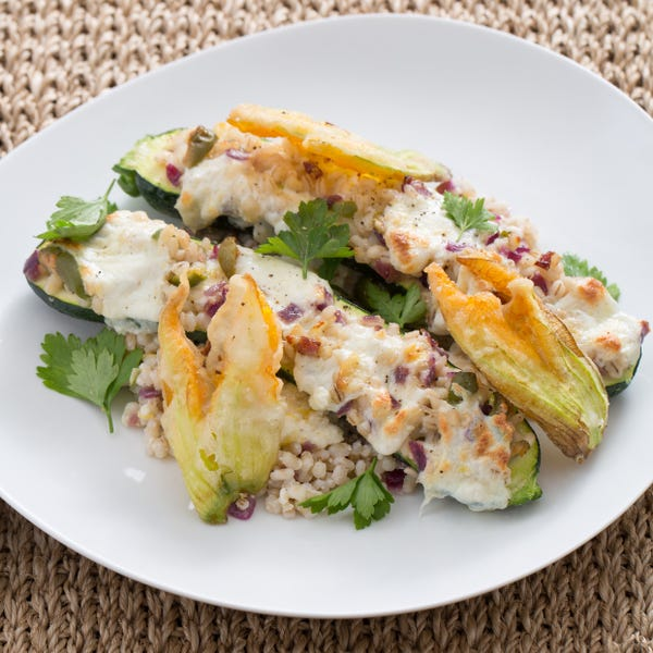 Mozzarella & Barley-Stuffed Zucchini with Crispy Squash Blossoms