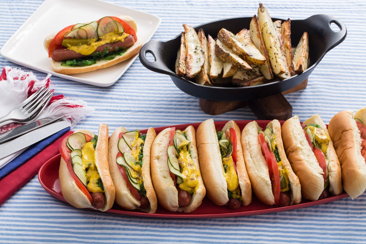 Blue apron niman ranch - Chicago Style Grass Fed Beef Frankfurters With Roasted Potato Wedges Homemade Pickles
