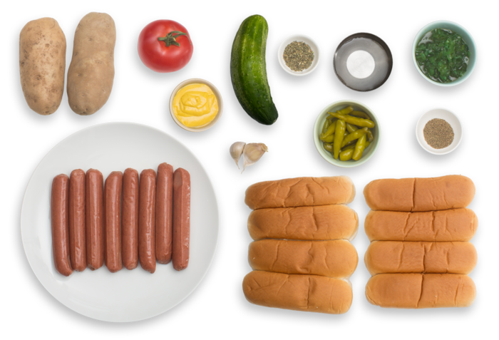Chicago-Style Grass-Fed Beef Frankfurters with Roasted Potato Wedges & Homemade Pickles ingredients
