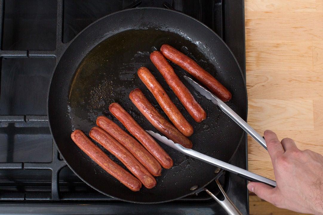 Cook the frankfurters: