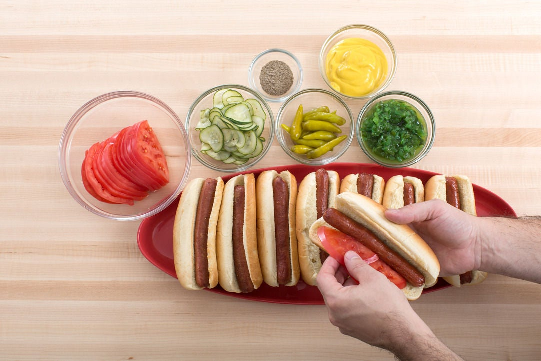 Assemble the frankfurters & serve your dish: