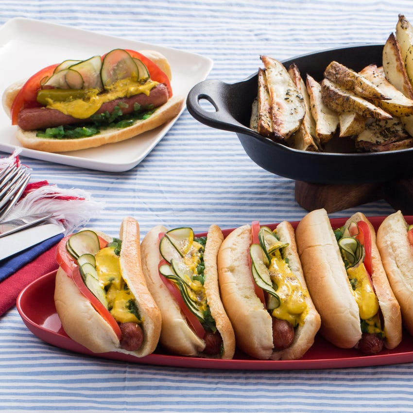 Chicago-Style Grass-Fed Beef Frankfurters with Roasted Potato Wedges & Homemade Pickles