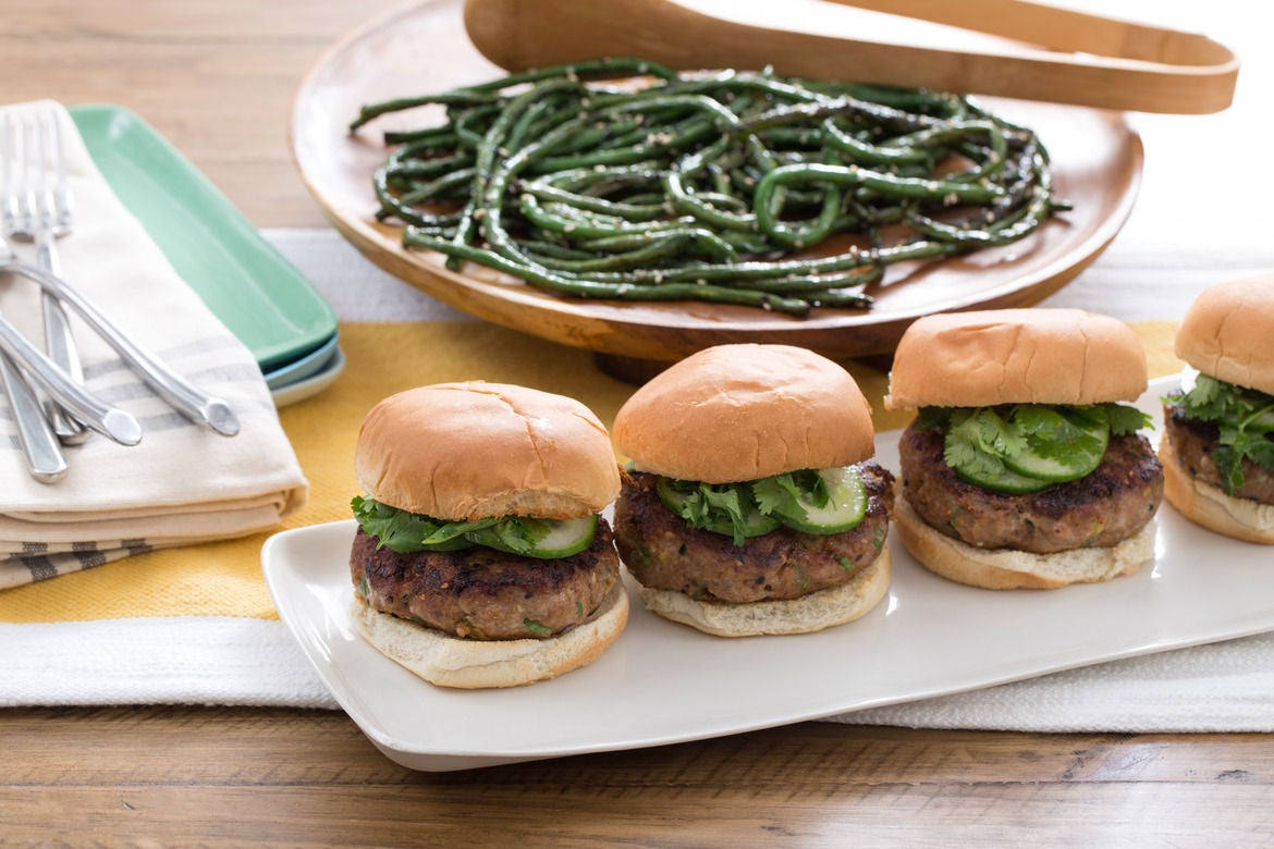 Teriyaki Turkey Burgers with Sesame Long Beans