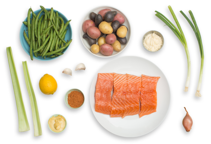 BBQ-Spiced Salmon & Green Beans with Red, White & Blue Heirloom Potato Salad  ingredients
