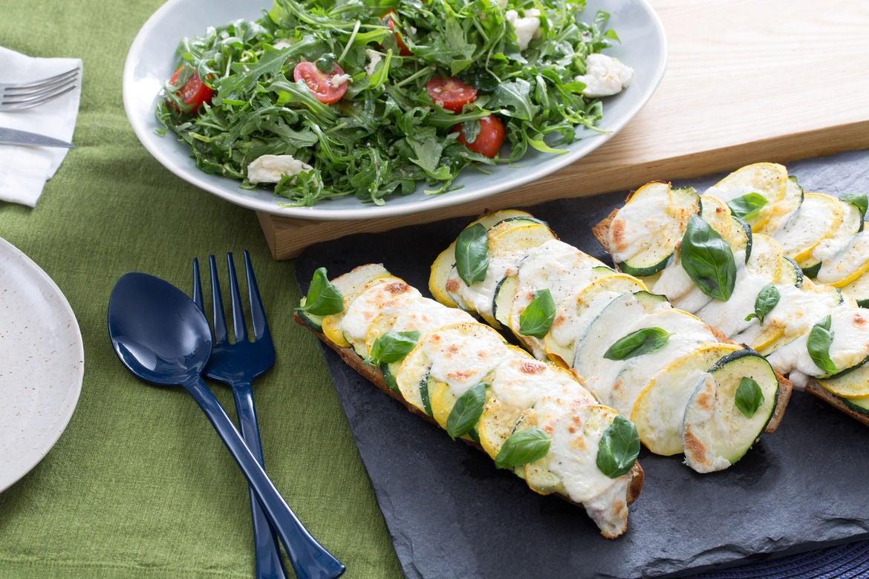 Blue apron zucchini salad - Summer Squash Baguette Pizzas With Arugula Cherry Tomato Salad