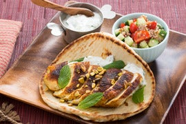 Ras El Hanout Chicken Pitas with Cherry Tomato & Cucumber Tabbouleh