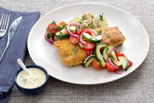 Cornmeal-Crusted Catfish with Tomato-Cucumber Salad & Creamy Potatoes