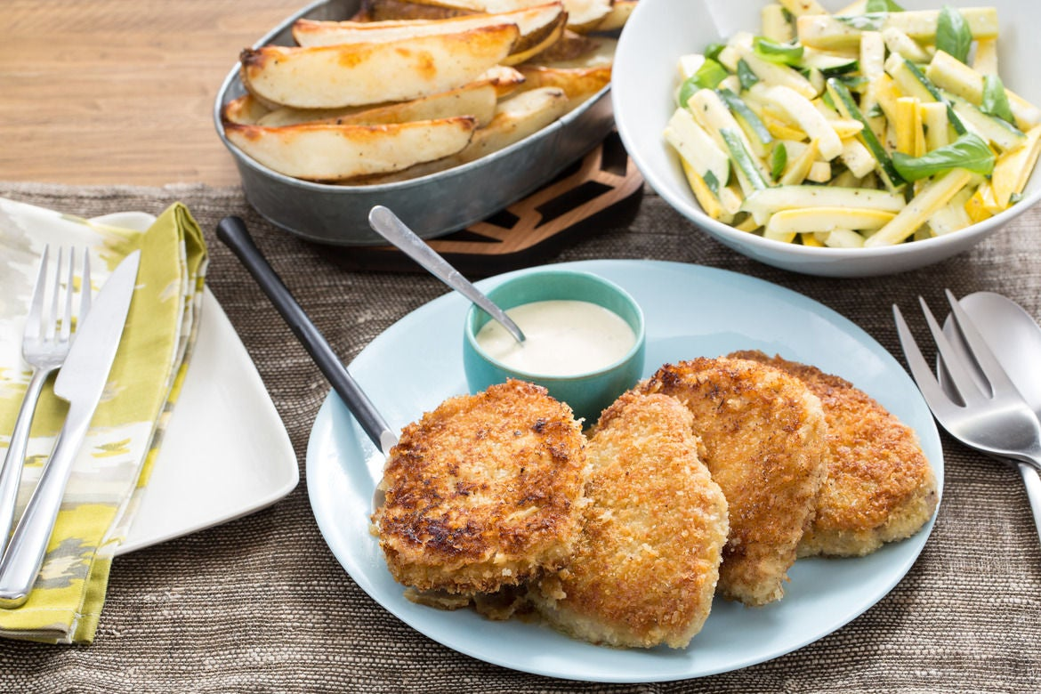 Crunchy Pork Chops with Summer Squash Slaw & Roasted Potato Wedges