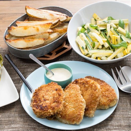 Crunchy Pork Chops with Summer Squash Slaw & Roasted Potato Wedges