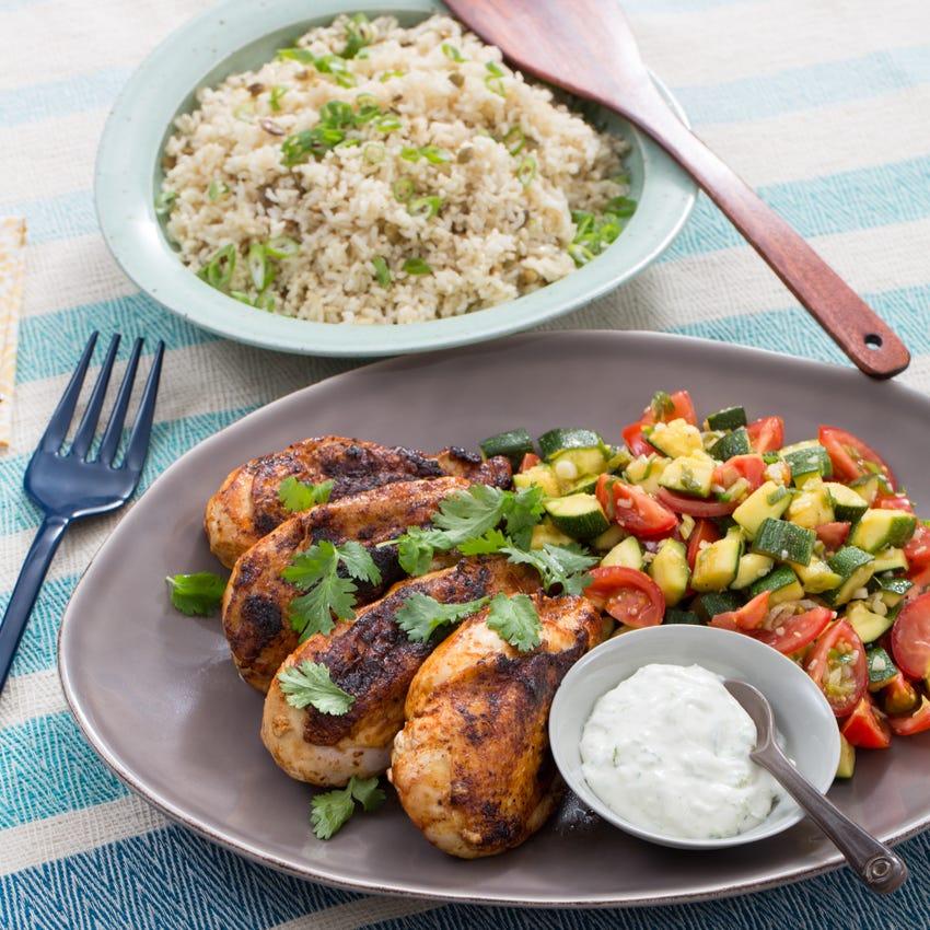 Chipotle-Spiced Chicken with Pepita Rice & Zucchini-Tomato Salad