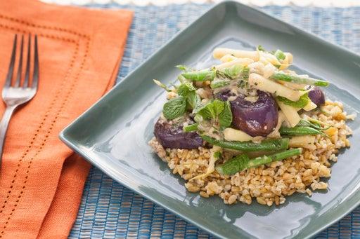 Tahini-Glazed Baby Eggplants with Green and Yellow Wax Bean & Lemon-Freekeh