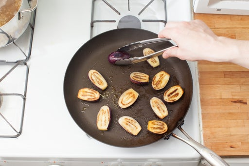 Cook the eggplants: