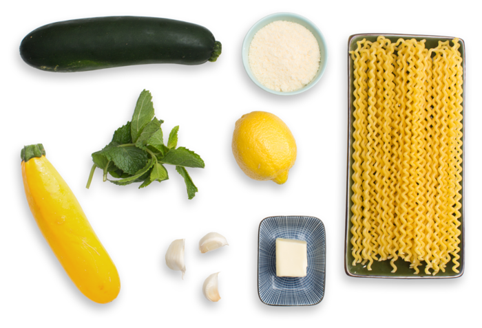 Fusilli Con Buco Pasta with Summer Squash & Mint ingredients