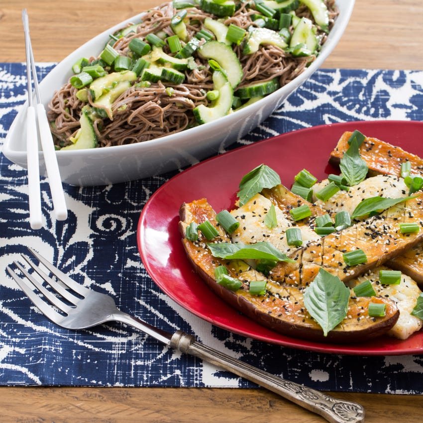 Recipe Seared Cod Miso Roasted Japanese Eggplant With Cucumber Soba Noodle Salad Blue Apron