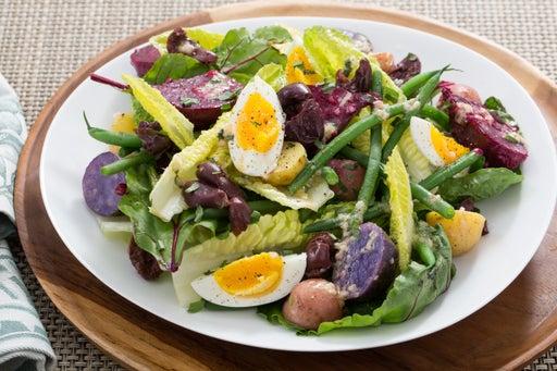 Vegetable Niçoise Salad with Dijon-Tarragon Dressing & Farm Eggs