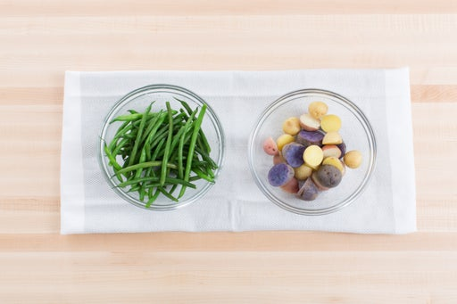 Cook the potatoes & haricots verts: