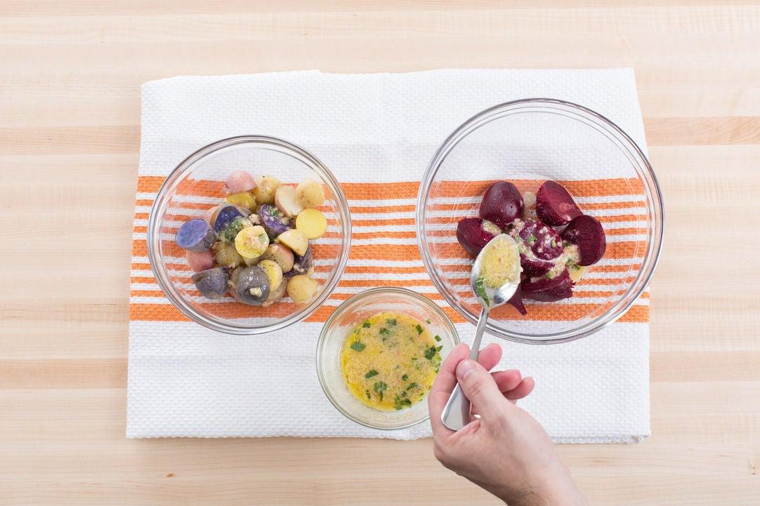 Dress the potatoes & beets:
