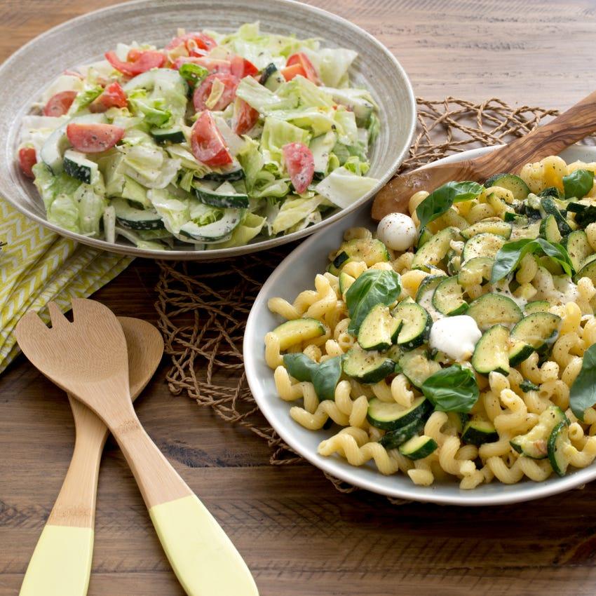 Summer Squash Cavatappi Pasta with Fresh Mozzarella & Chopped Salad