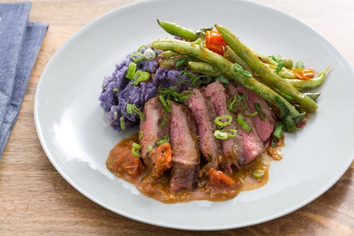 Sirloin Steaks with Mashed Purple Potatoes & Summer Vegetables