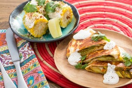 Summer Squash & Squash Blossom Quesadillas with Mexican-Style Corn on ...