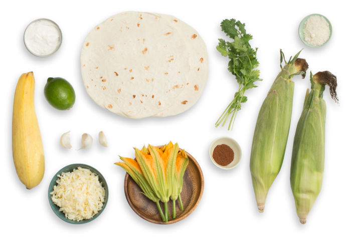 Summer Squash & Squash Blossom Quesadillas with Mexican-Style Corn on the Cob ingredients