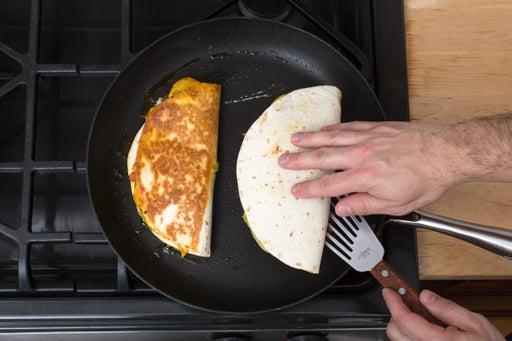 Cook the quesadillas:
