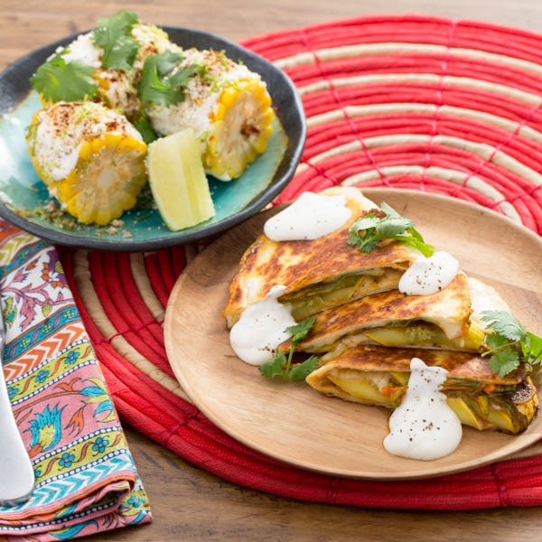 Summer Squash & Squash Blossom Quesadillas with Mexican-Style Corn on the Cob