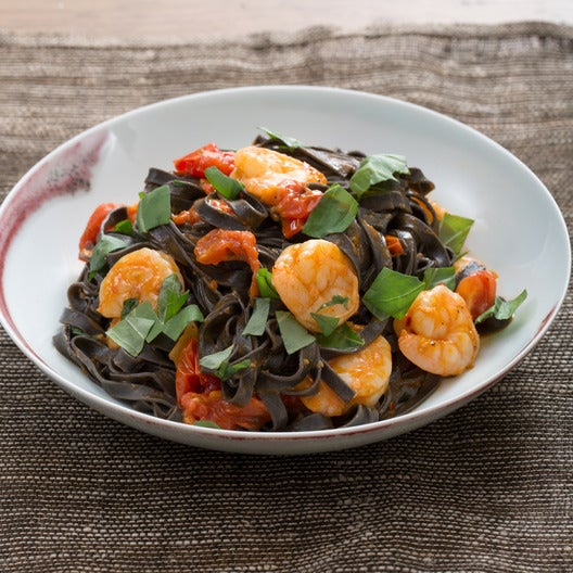 Squid Ink Linguine Pasta with Shrimp & Cherry Tomatoes