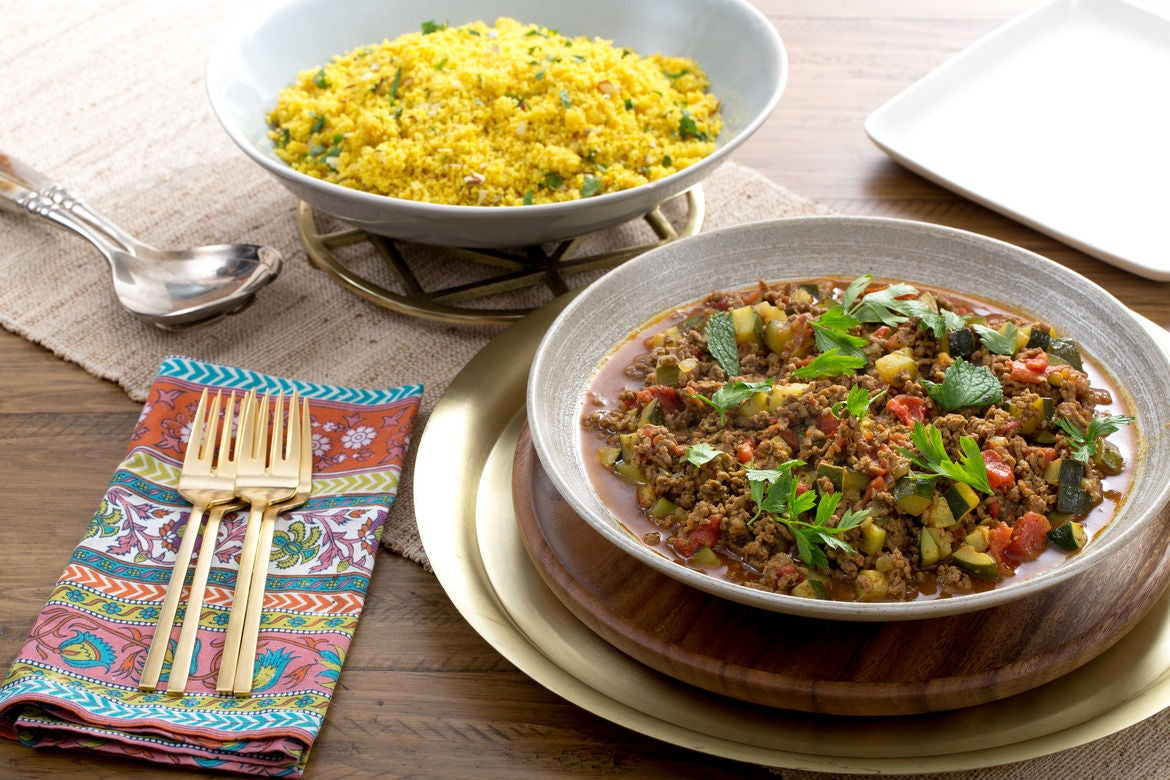 North African Beef Tagine with Zucchini & Almond-Herb Couscous
