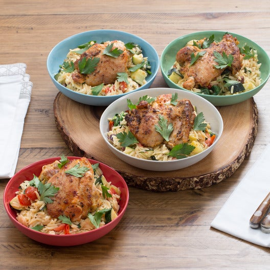 Seared Chicken Thighs with Mediterranean Orzo Salad