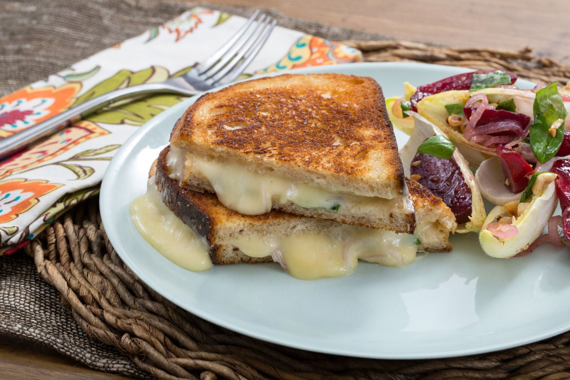 Fontina & Basil Grilled Cheese Sandwiches with Summer Stone Fruit & Endive Salad