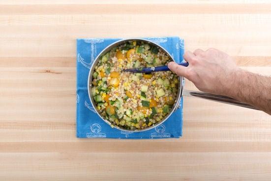 Finish the fregola sarda pasta: