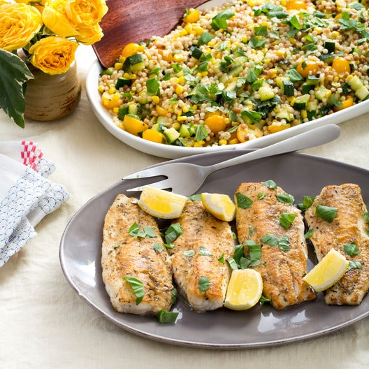 Seared Catfish with Sun Gold Tomato & Sweet Corn Fregola Sarda