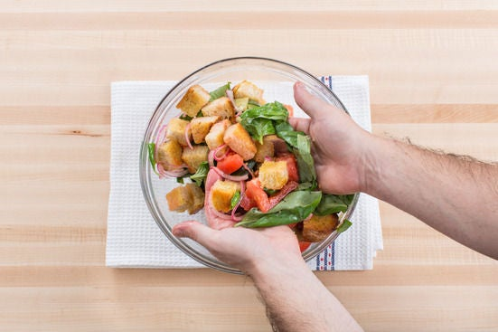 Make the panzanella & serve your dish: