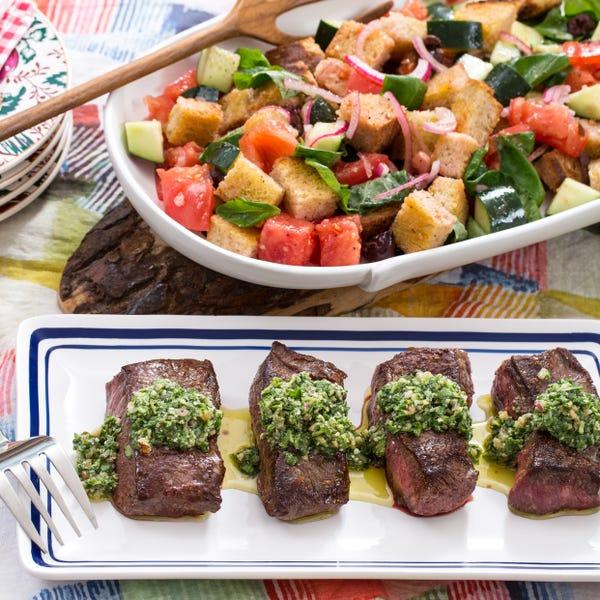 Top Round Steaks with Arugula-Walnut Pesto & Panzanella